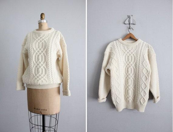 1970s vintage cream wool fishermans sweater