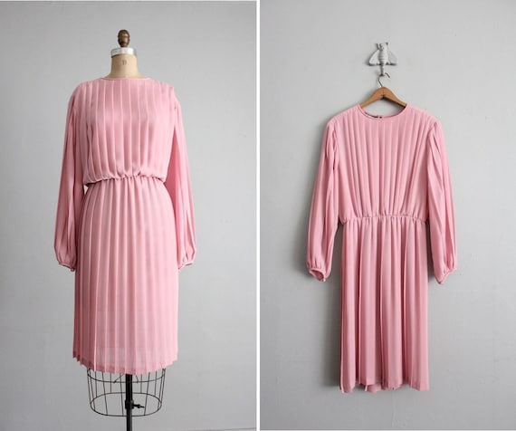 1970s vintage sheer pink pleated dress