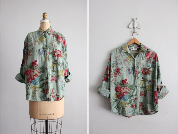 vintage watercolor floral print collared shirt