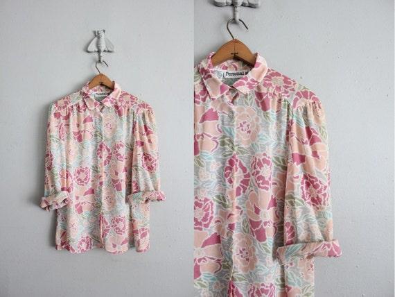 final sale item / 1970s vintage sheer floral blouse