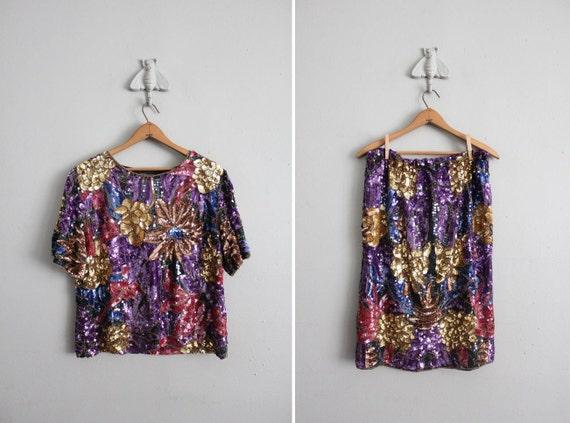 final sale item / vintage abstract sequin skirt set