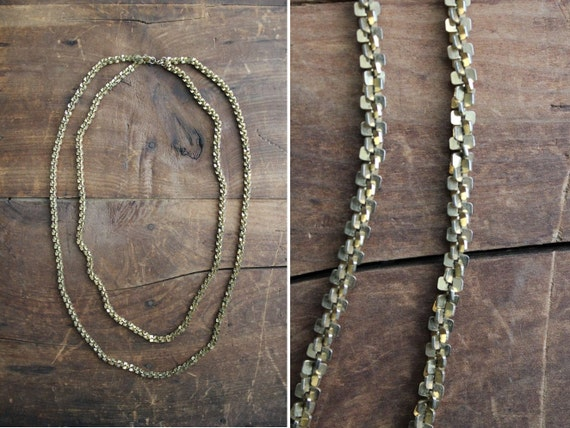 1970s vintage brass notch chain necklace
