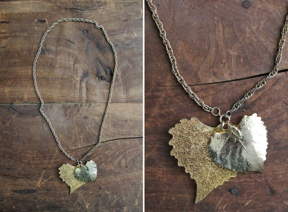 vintage golden cast leaves necklace