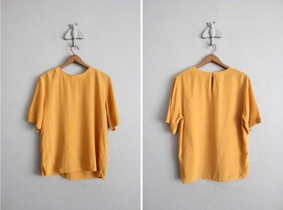 vintage saffron silk oversized blouse