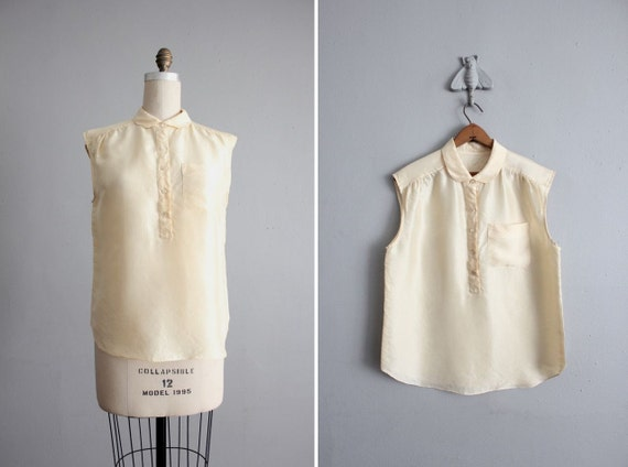 1970s vintage moonglow silk pocket blouse