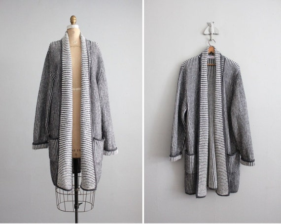 vintage gray striped chunky long sweater