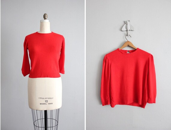1960s vintage red cashmere sweater