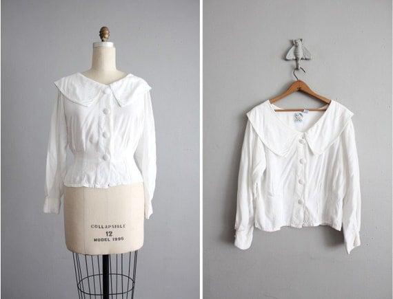 vintage white puritan collar blouse
