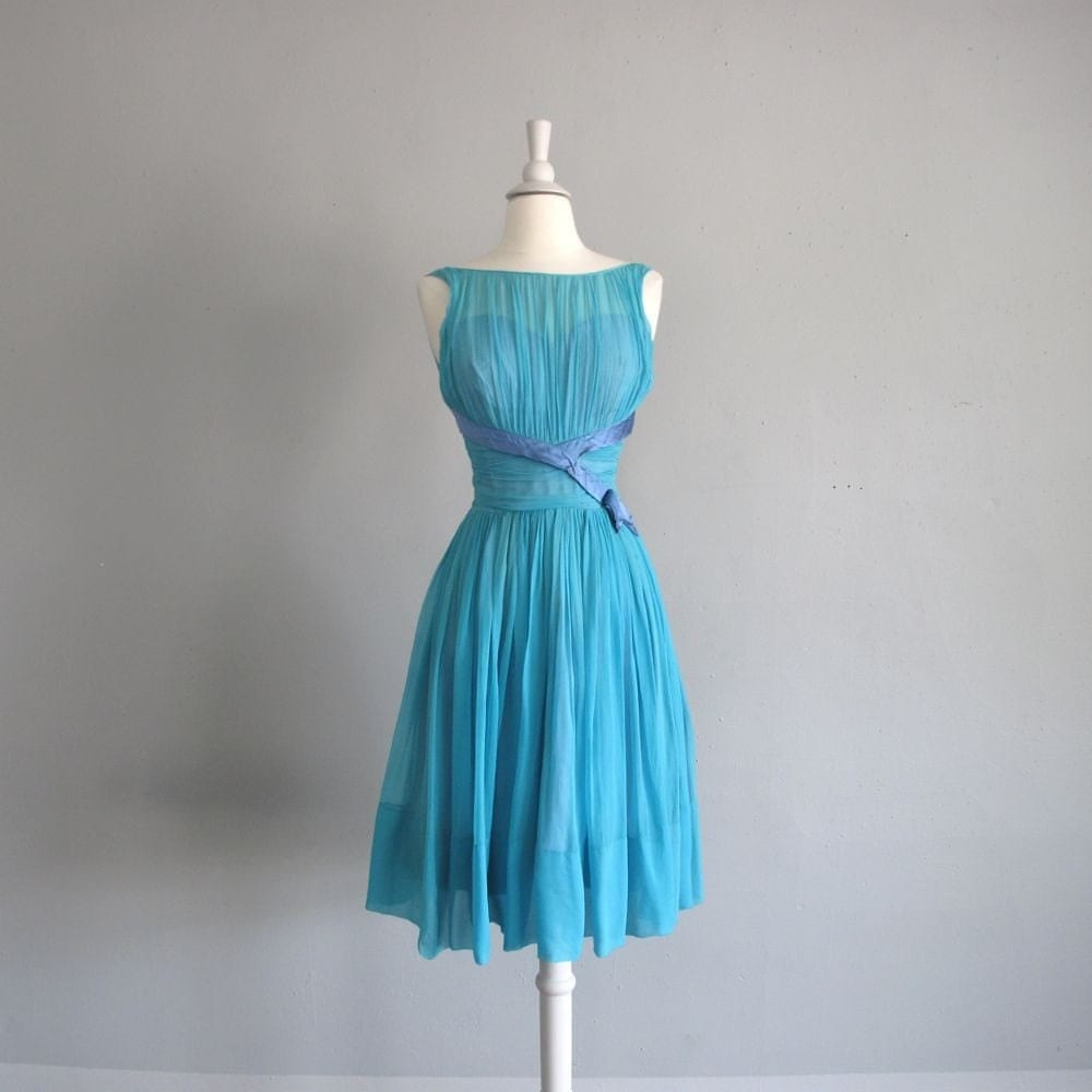 1950s vintage tiffany blue silk chiffon party dress. Black Bedroom Furniture Sets. Home Design Ideas