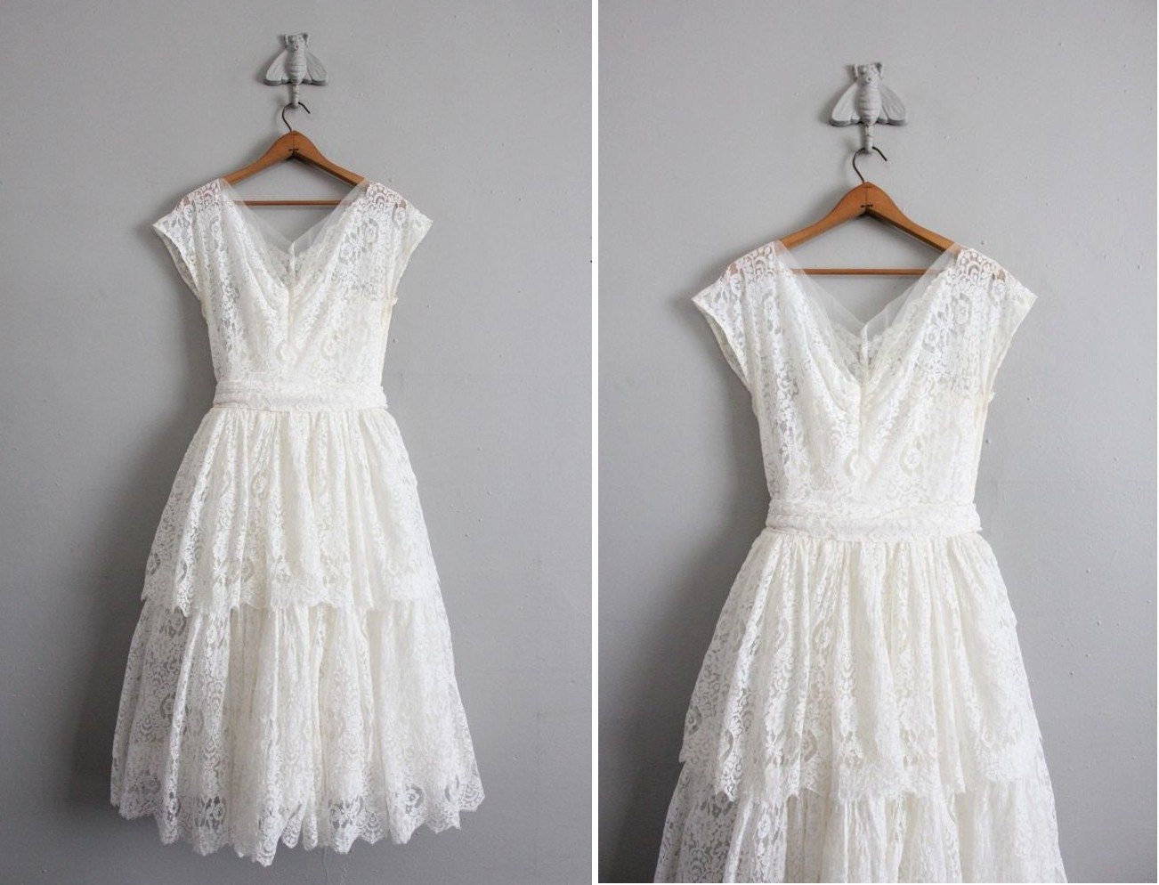 1950s vintage white lace wedding dress for Vintage lace dress wedding