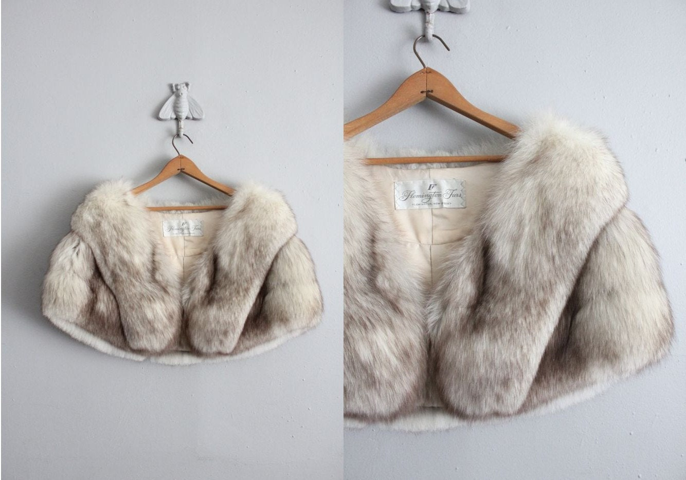 Reserved 1950s vintage gray fox fur stole - Stoel fur ...