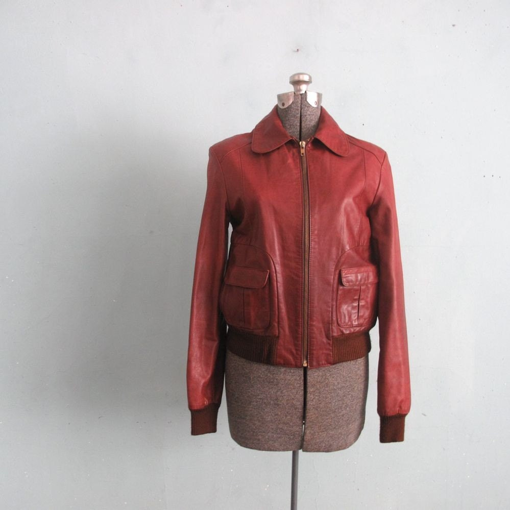 Vintage Cognac Leather Bomber Jacket By Allencompany On Etsy