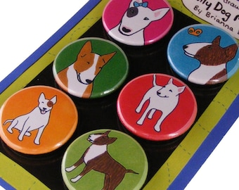 English Bull Terrier Silly Dog Magnet Set