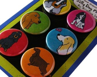 English Cocker Spaniel Silly Dog Magnet Set