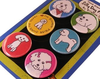 Bichon Frise Magnet Set Silly Dog Magnets