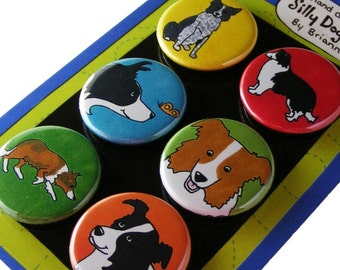 Border Collie Silly Dog Magnet Set