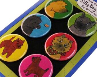Cairn Terrier Silly Dog Magnet Set