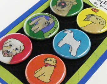 Wheaten Terrier Silly Dog Magnet Set