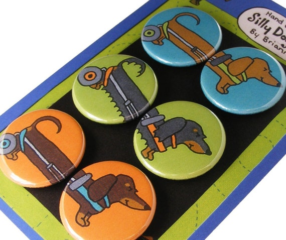 Dachshund In a Wheel Chair Magnet Set Silly Dog Magnet Handicapped Disabled Pets