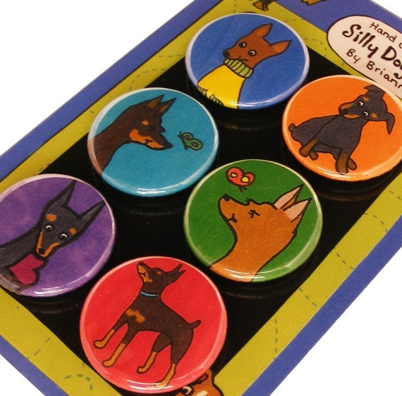 Min Pin Magnets Silly Dog Magnet Set