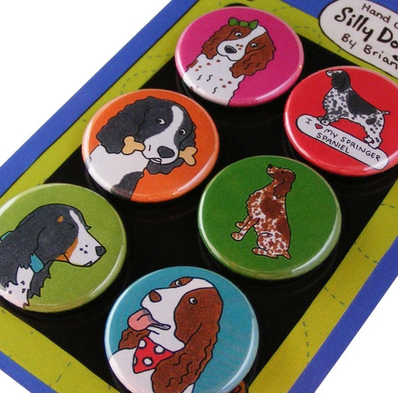 Springer Spaniel Silly Dog Magnet Set
