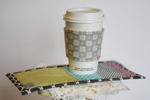 Happy Little Mug Rug & Coffee Coat Set (Ready to Ship)