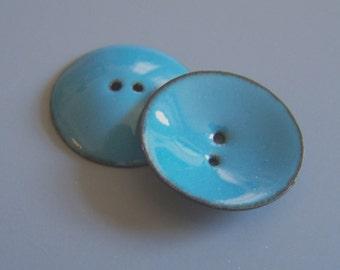 Turquoise Vitreous Glass Enamel Button