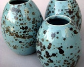 Porcelain Robins Egg Vase Trio