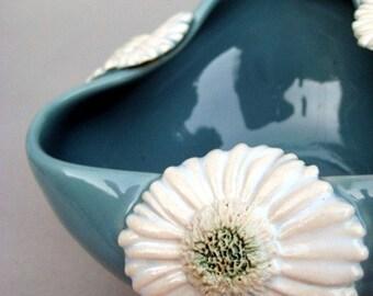 White Gerber Daisy Bowl