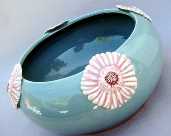 Pink Gerber Daisy Robins Egg Blue  Bowl - Hand sculpted wheel thrown stoneware pottery