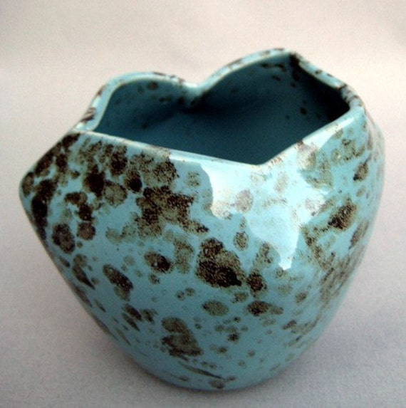 Speckled Robins Egg Bud Vase - Handmade wheel thrown stoneware pottery