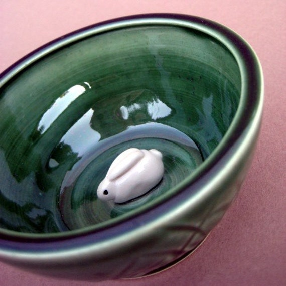 White Bunny Suprise Grassy Green Bowl - Handmade and handsculpted stoneware pottery