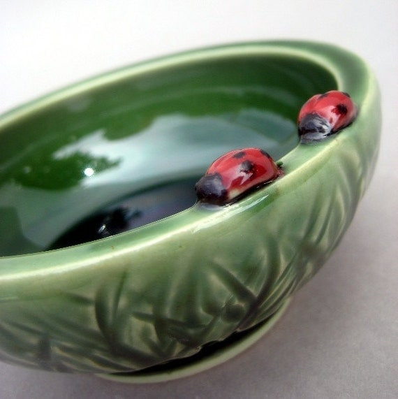 Ladybugs in the Tall Grass Bowl - Hand thrown and hand sculpted stoneware pottery