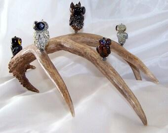 owls, handmade glass owl, flameworked glass, glass owl scuplture, lampwork owls, owl beads, antler art, sra lampwork, artisan crafted