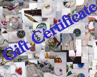 Lampwork Glass Gift Certificate, Gift Voucher