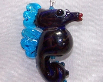 Seahorse Sealife Jewelry Lampwork Glass Pendant Necklace