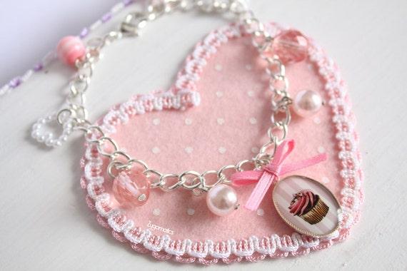 Cupcake Cameo Charms Bracelet