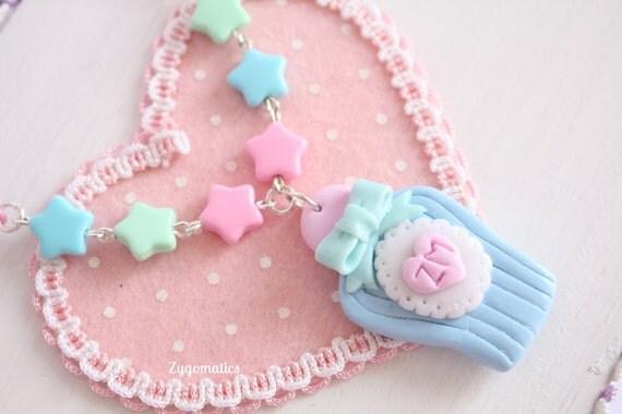 Mint & Blue Perfume Bottle Necklace