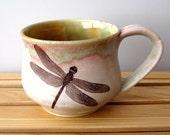 Ceramic Mug - Dragonfly - 14 oz  -  Wheel Thrown Stoneware Pottery