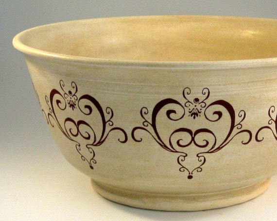 Hand Thrown Stoneware Bowl - Fanciful Flourishes