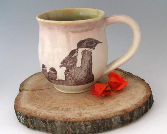 Chickadee Coffee Mug - 16 oz - Wheel Thrown Pottery - Stoneware