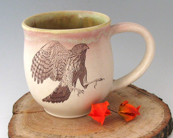 Coffee Mug - Cooper's Hawk - 21 oz  - Wheel Thrown Stoneware Pottery