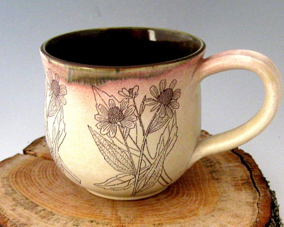 Ceramic Mug - Brown Eyed Susan  - 15 oz  - Hand  Thrown Stoneware