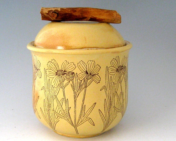Lidded Jar - Botanical - Flower - Wheel Thrown Pottery - Stoneware