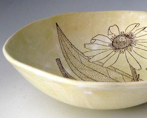Botanical Ceramic Bowl - Coneflower - Flower- Wheel Thrown Ceramic Stoneware Pottery