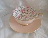 Vintage Shelley Tea Cup and Saucer Briar Rose Pink Chintz