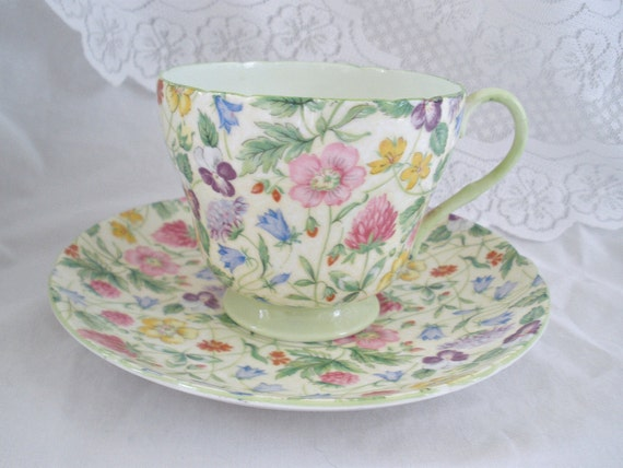 Reserved for YP Vintage Shelley China Tea Cup and Saucer Country Side Chintz