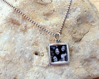 Thick Sterling Silver Square Custom Photo Charm - Charm ONLY