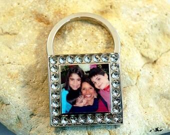 Square Bling Custom Photo Keychain