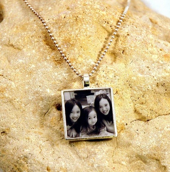 Large Heavy Square Sterling Custom Photo Charm on Sterling Ball Chain